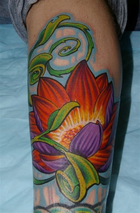tattoo lotus leaf cute 3d style painted colored lotus flower with leaves