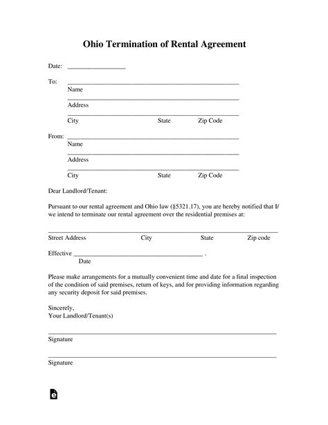 Ohio Lease Termination Letter Form | 30-Day Notice