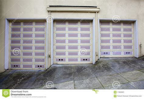 Garage Doors In San Francisco Three Lavendar Garage Doors Stock Image Image 17832831