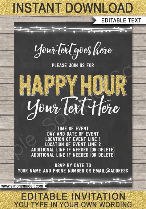 chalkboard happy hour invitation template printable