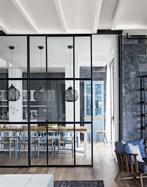 glass dining room gorgeous floor to ceiling glass divider between kitchen
