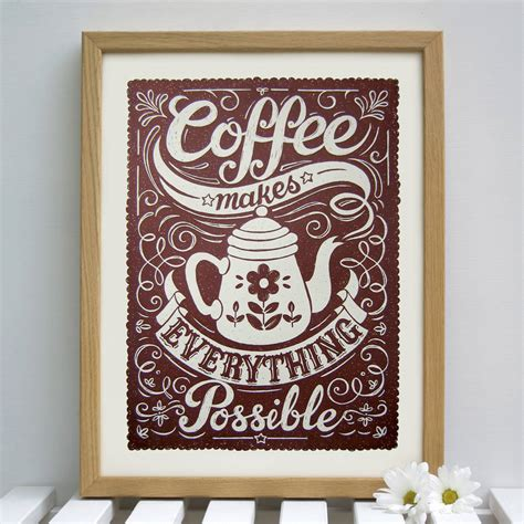 Coffee Print coffee print by snowdon design craft notonthehighstreet