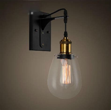 modern bathroom wall sconces loft vintage industrial american country teardrop glass