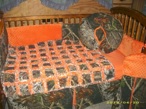 Camo And Orange Crib Bedding Karadelaine On Artfire