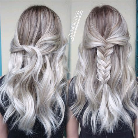 blonde hair with silver highlights platinum white blonde balayage ombre balayage