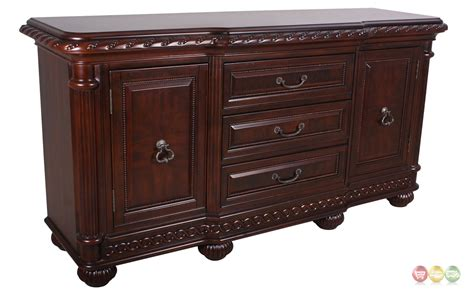 antoinette mahogany buffet table with distressed cherry finish