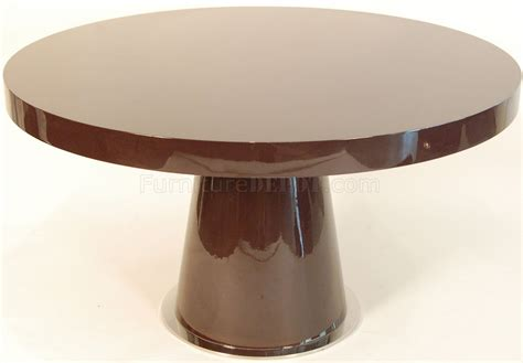 Brown High Gloss Lacquer Finish Modern Round Dining Table