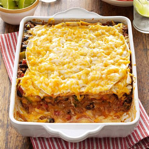 taco lasagna recipe taste of home