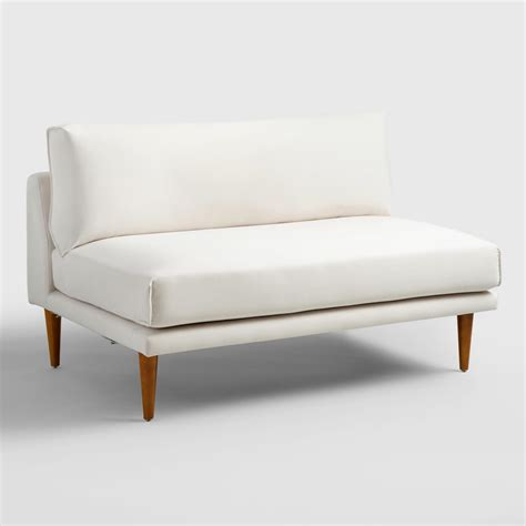 2 seat sectional sofa ivory nica sectional armless 2 seat sofa world market