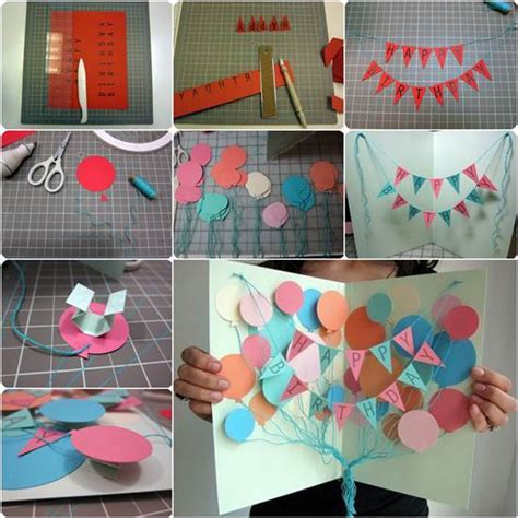 Handmade Birthday Banner Ideas - how to diy creative happy birthday banner and balloon card