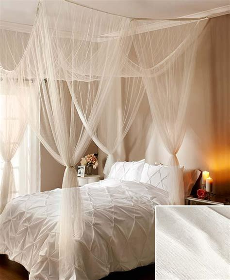 over bed canopy new elegant 4 post bed sheer laced bed canopy curatin white fits all size beds ebay