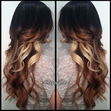darker hair on top lighter on bottom is called tri colored hair ombre with long layers awesome hair