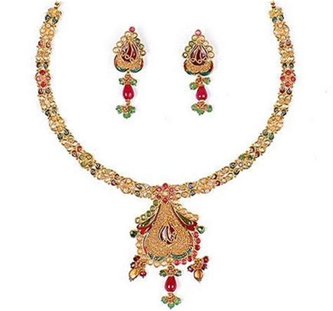 indian jewellery design gold stone necklace sets designs