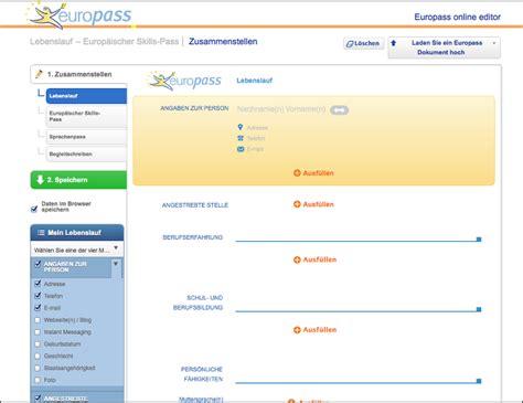 Lebenslauf Muster Für Den Deutschen Pass Europass Lebenslauf Erstellen