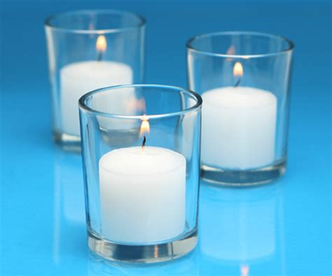 candele votive cudge net white votive candles and clear glass votive