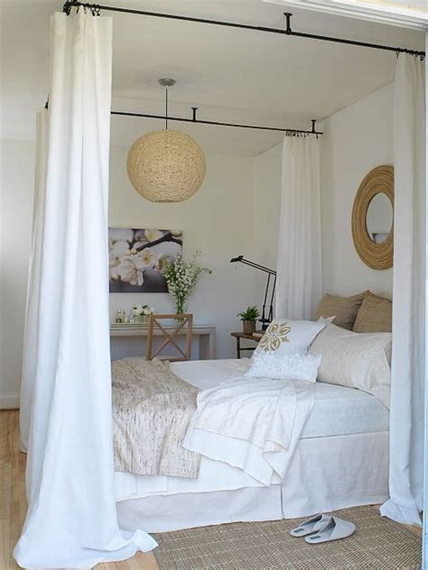 curtains for canopy bed diy canopy bed with curtain rods woodworking projects