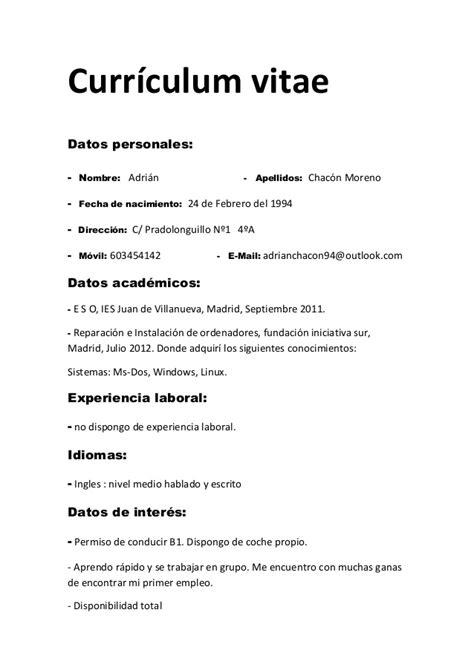 Modelo Curriculum Vitae Primer Trabajo Curr 237 Culum Vitae Adrian Chacon