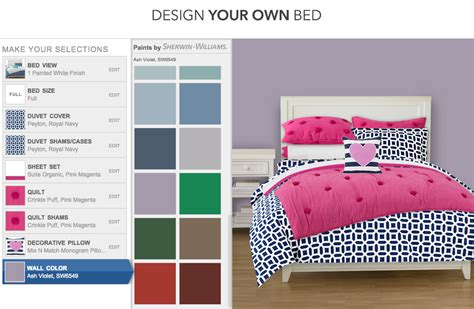 create your own bedding design your own bed with pbteen