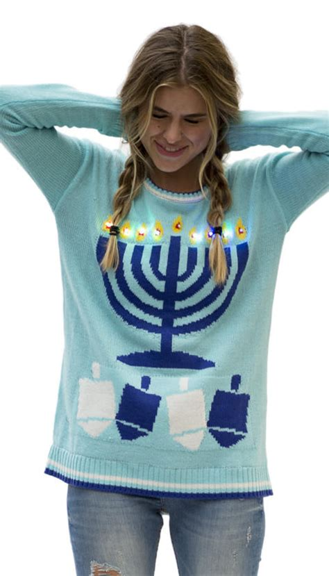 Light Up The Night Ugly Hanukkah Sweater From Love On A Hanger Sweater Lights Up