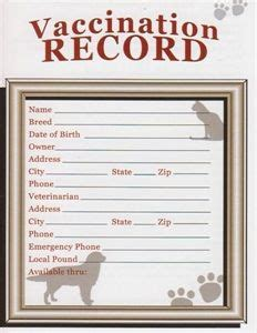 printable animal vaccine record customizable vaccination cards for dog by