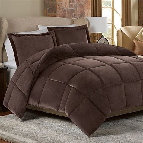 faux fur bedding set mink faux fur comforter set in chocolate bed bath beyond