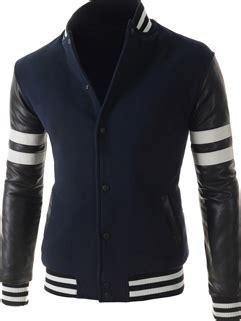 Jaket Button Line 2 Tone Navy Pocket korean masculine navy blue color split joint button jacket striped letter printed pocket