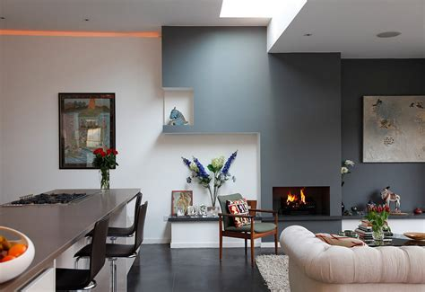 wall in living room creating a warm and calm situation at home with blue accent wall