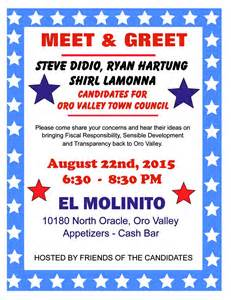 meet and greet flyers templates oro valley town council candidates meet greet