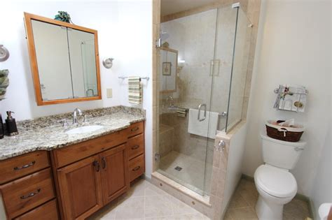 Knotty Alder Bathroom Vanity Knotty Alder Vanity With Tile Shower Stow Oh Traditional Bathroom Cleveland By
