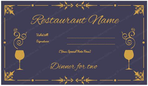 dinner gift card template dinner for two certificate template