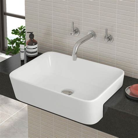 standard semi recessed sink salou semi recessed basin available from