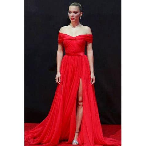 lea seydoux red dress lea seydoux red off the shoulder thigh split prom dress