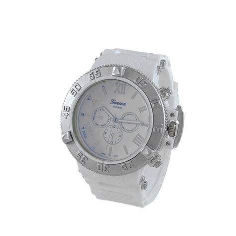 blue silver bezel white rubber sports silver
