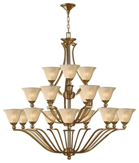 Large Chandeliers For Foyers 4659br Bolla Large Foyer Chandelier Brushed Bronze Light Seedy Glass Contemporary
