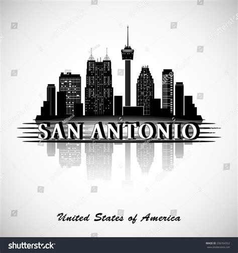 san antonio texas city skyline silhouette stock vector
