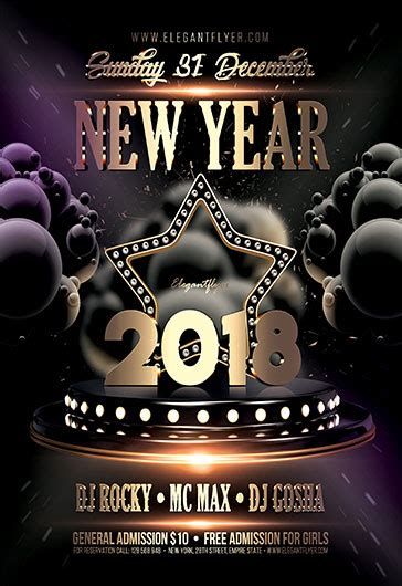 Happy New Year 2018 Free Flyer Psd Template By Elegantflyer Ad Template 2018