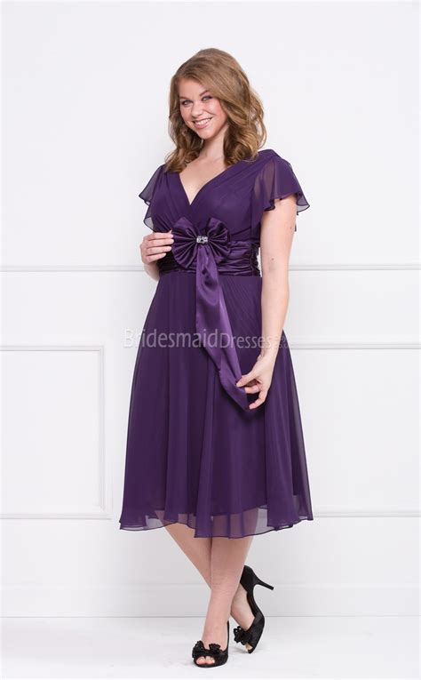 Plus Size Bridesmaid Dress by Regency Chiffon Tea Length V Neck A Line Sleeve Plus