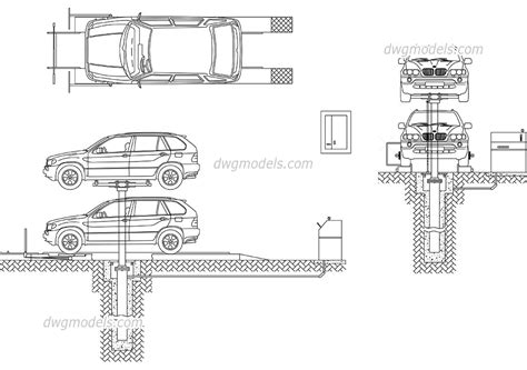 Quality Cad Bim Modeling car lift service dwg free cad blocks download