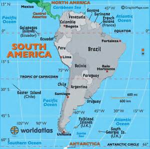 south america latitude longitude and relative location