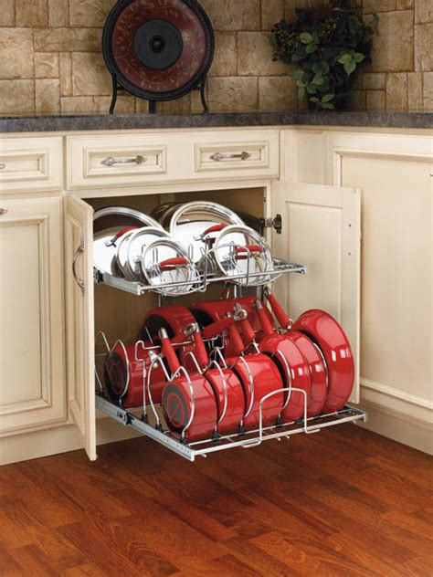 shelves that slide base cabinet pullout 2 tier cookware