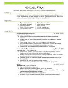 Retail Customer Service Resume Exles by Customer Service Representative Resume Exles Retail Resume Exles Livecareer