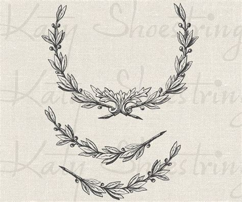 digital tattoo printer vintage wreath and branches illustration download and