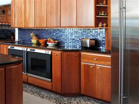 blue glass tiles backsplash