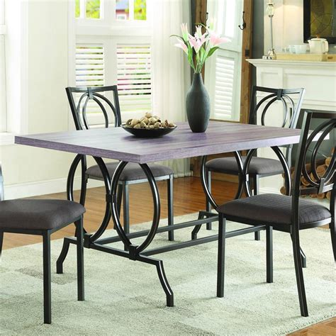 Chocolate Brown Dining Room by Homelegance Chama 5 Faux Wood Top Dining Room Set In