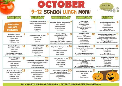 A Healthier Menu by Grade School Breakfast And Lunch Menus Images Frompo