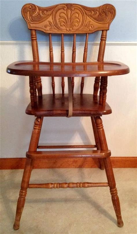 vintage carved wooden baby high chair solid wood toddler