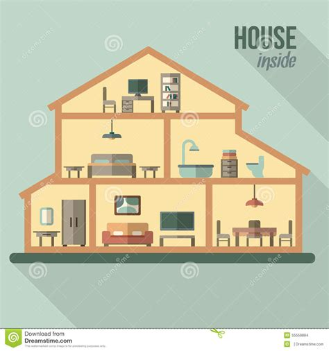 modern home design vector house in cut detailed modern house interior stock vector