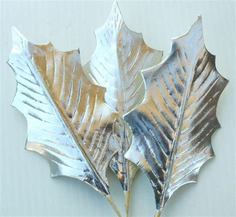 Silver Craft Paper - silver millinery leaves foil paper craft diy