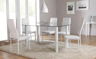 White Dining Room Table Set Lunar Glass Dining Room Table And 4 6 Chairs Set White Ebay