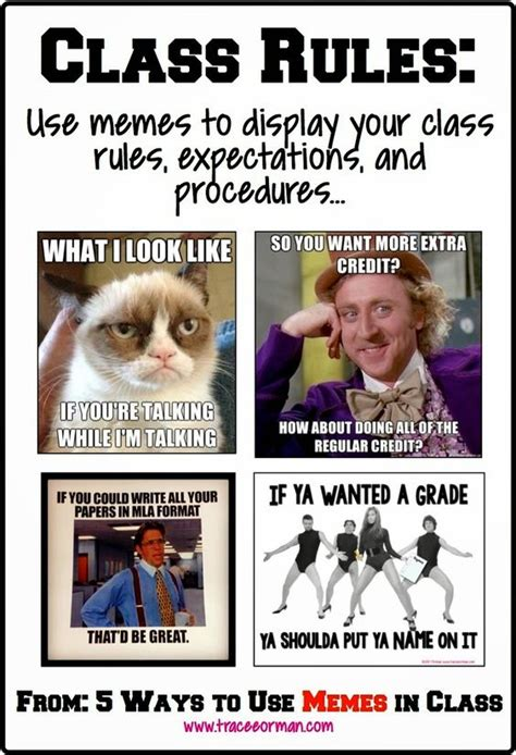 In Class Meme - back to school use memes for your class rules and
